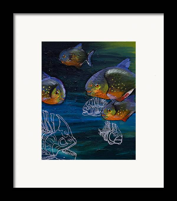 Fish Framed Print featuring the painting Ambiguity by Anthony Cavins