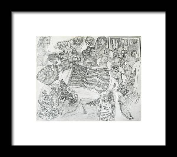 Family Framed Print featuring the drawing America the Beautiful by Nancy Caccioppo