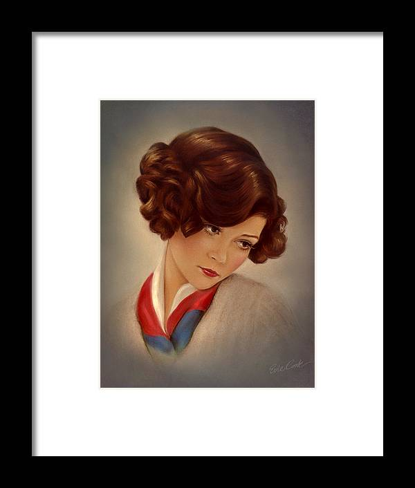 Retro Framed Print featuring the pastel American Beauty by Evie Cook