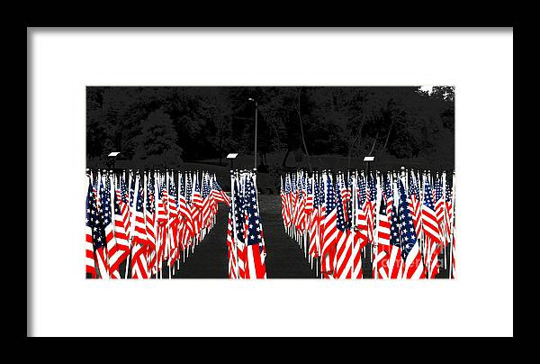 Fayetteville Framed Print featuring the photograph American Flags by Papote Detres