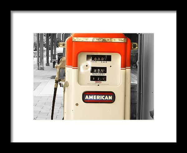 Gas Pump Framed Print featuring the photograph American Gas by Dennis Dugan