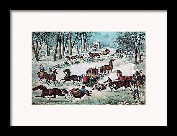 History Framed Print featuring the photograph American Winter 1870 by Photo Researchers