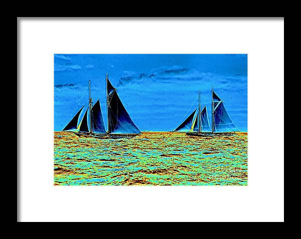 America's Cup Contenders Idler And Hildegarde 1901 Framed Print featuring the photograph America's Cup Contenders Idler And Hildegarde 1901 by Padre Art