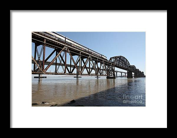 Transportation Framed Print featuring the photograph Amtrak Train Riding Atop The Benicia-martinez Train Bridge In California - 5d18829 by Wingsdomain Art and Photography