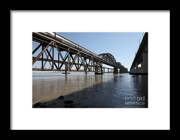 Transportation Framed Print featuring the photograph Amtrak Train Riding Atop The Benicia-martinez Train Bridge In California - 5d18830 by Wingsdomain Art and Photography