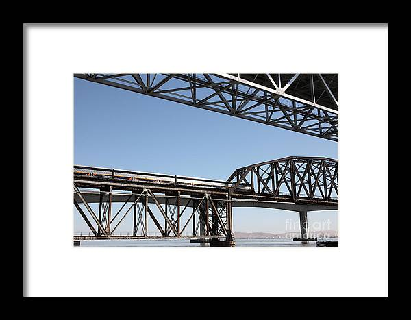 Transportation Framed Print featuring the photograph Amtrak Train Riding Atop The Benicia-martinez Train Bridge In California - 5d18835 by Wingsdomain Art and Photography
