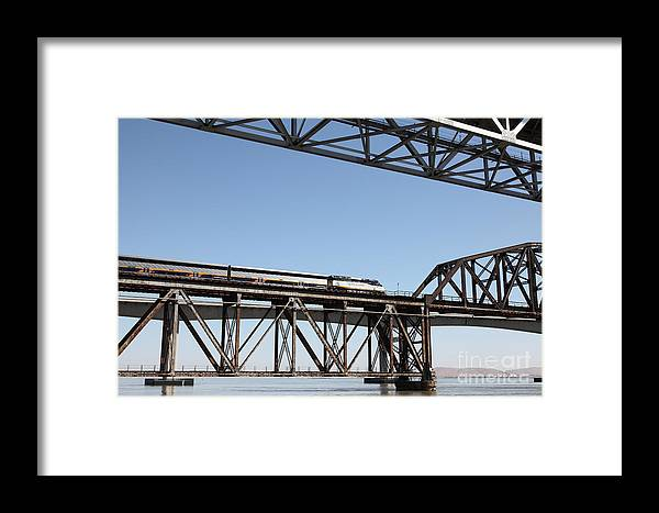 Transportation Framed Print featuring the photograph Amtrak Train Riding Atop The Benicia-martinez Train Bridge In California - 5d18837 by Wingsdomain Art and Photography