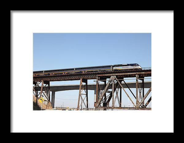 Transportation Framed Print featuring the photograph Amtrak Train Riding Atop The Benicia-martinez Train Bridge In California - 5d18839 by Wingsdomain Art and Photography