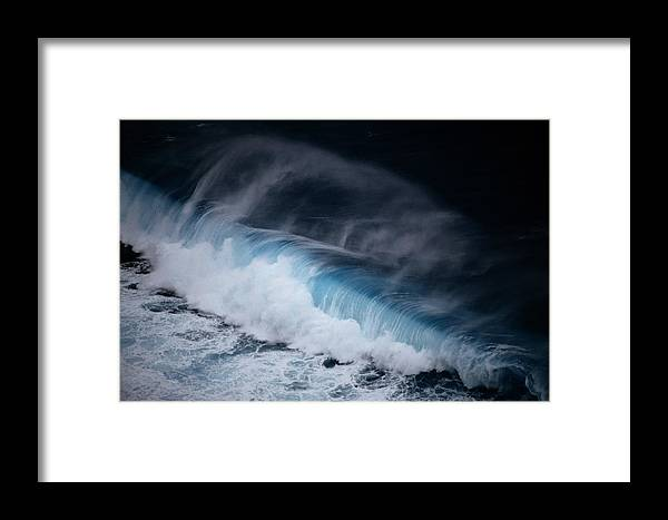 Aerial Views Framed Print featuring the photograph An Aerial View Captures A Large Wave by Paul Chesley