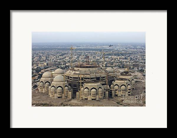 Aerial View Framed Print featuring the photograph An Aerial View Of Saddam Hussiens Great by Terry Moore
