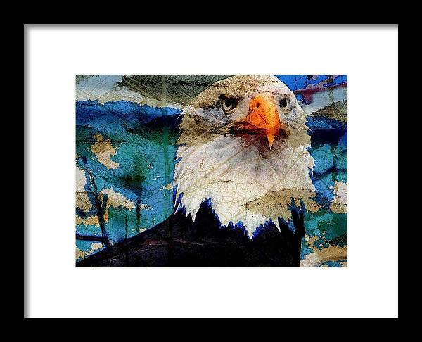 Bald Eagle Framed Print featuring the digital art American Bald Eagle by Carrie OBrien Sibley