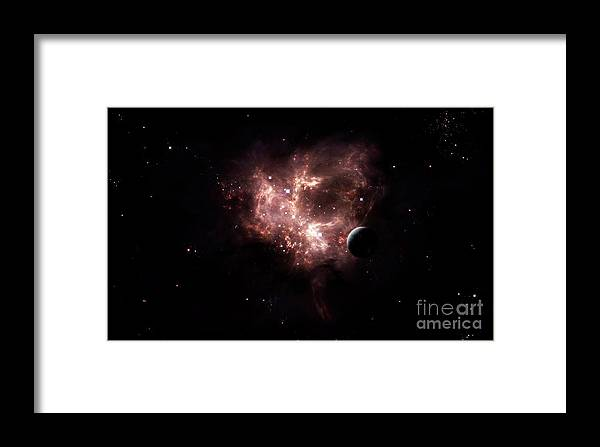 Artwork Framed Print featuring the digital art An Emission Nebula Is Viewed From Neaby by Brian Christensen