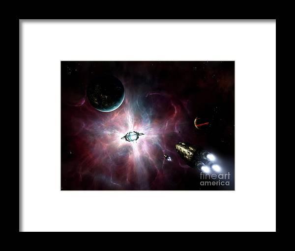 Artwork Framed Print featuring the digital art An Enormous Stellar Power by Brian Christensen