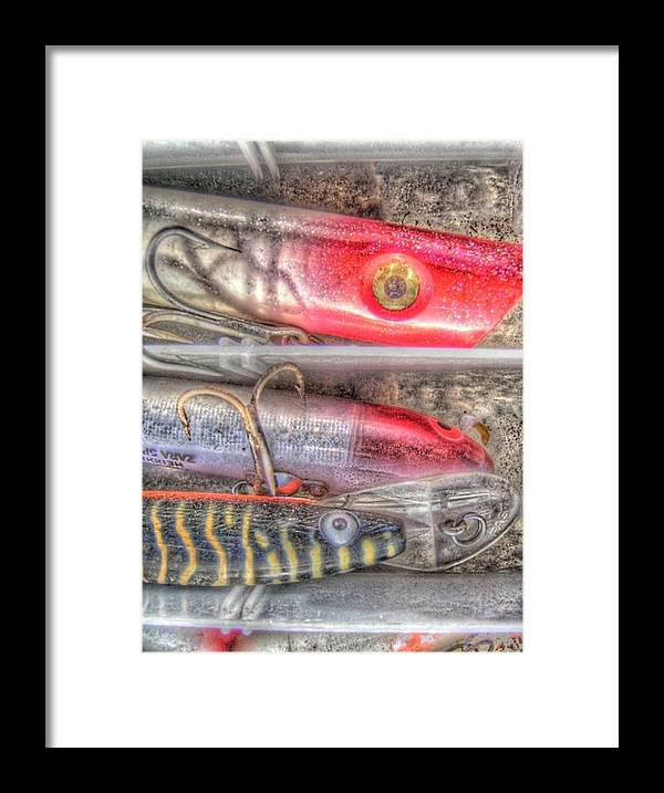 Plastic Framed Print featuring the photograph An Hdr Of Fishing Lures by Jennifer Holcombe