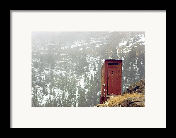 North America Framed Print featuring the photograph An Outhouse Perches On A Hillside by Rex A. Stucky