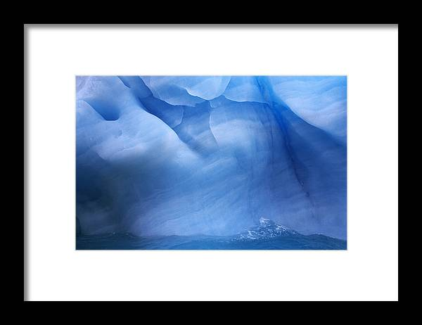 Fn Framed Print featuring the photograph Ancient Blue Iceberg, Detail, Antarctica by Flip De Nooyer