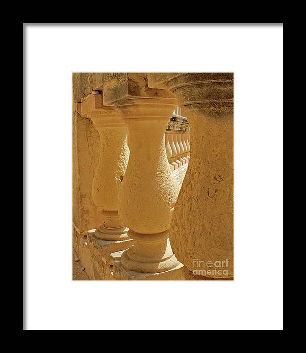 Limestone Framed Print featuring the photograph Ancient Railing by Denise Wilkins