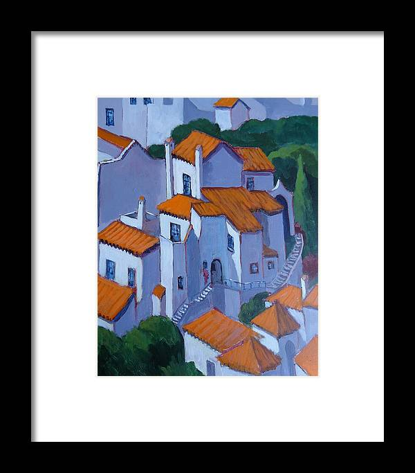 Painting From A Plein Air Sketch Of Nerja Framed Print featuring the painting Andalucia Spain by Edward Abela
