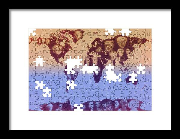 Andy Warhol Map Print Framed Print featuring the photograph Andy Warhol Puzzle Map by Stephen Walker
