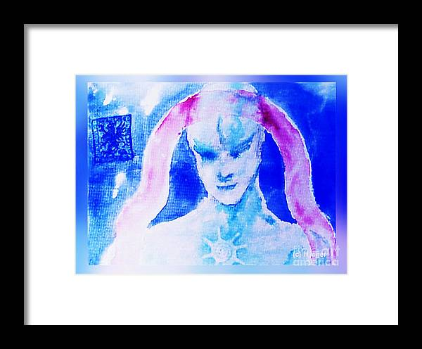 Angel Framed Print featuring the painting Angel Blue by Hartmut Jager