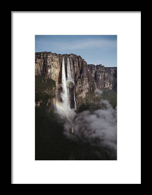 waterfalls Framed Print featuring the photograph Angel Falls, With Plane For Scale by Michael Nichols