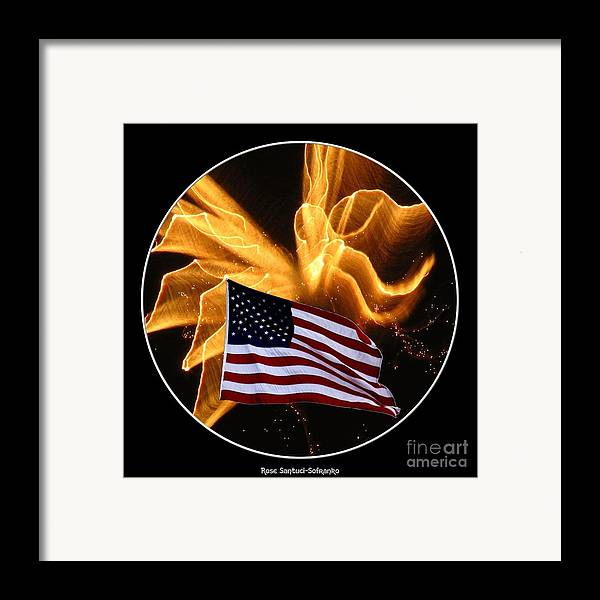 Flags Framed Print featuring the photograph Angel Fireworks And American Flag by Rose Santuci-Sofranko