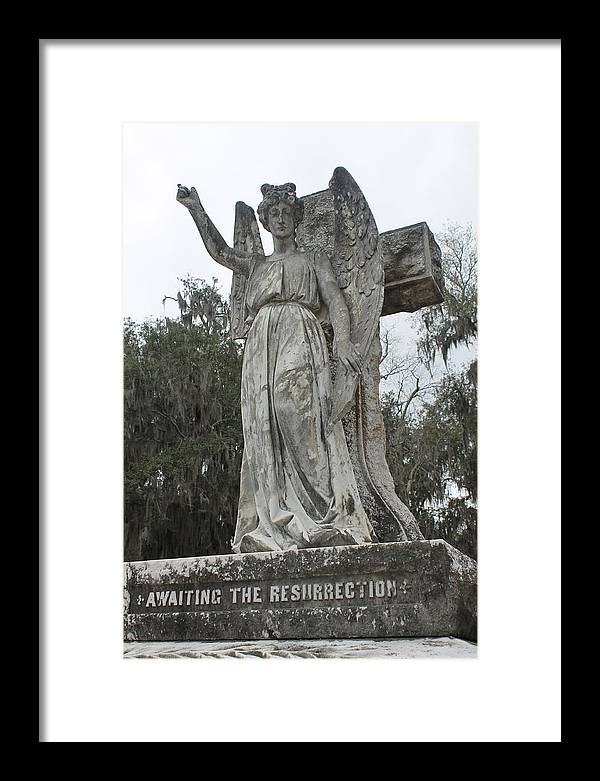 Angel Framed Print featuring the photograph Angel In Cemetery by Glenda Barber