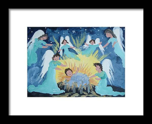 Jesus Framed Print featuring the painting Angels Visit by Mary Crochet