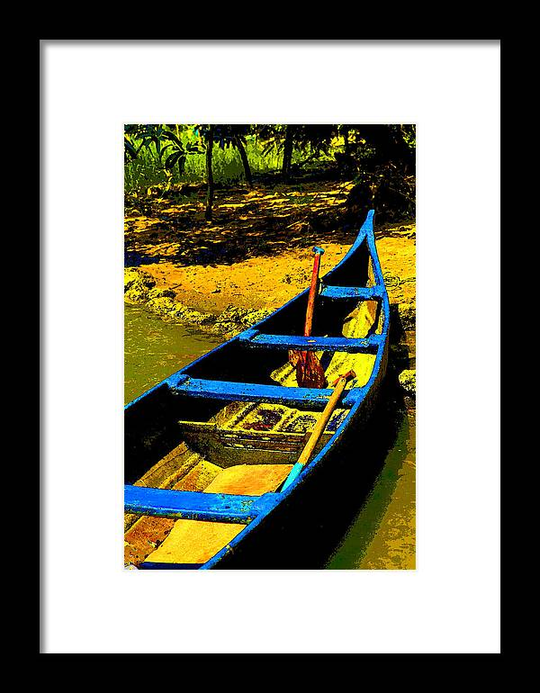 Angled Framed Print featuring the photograph Angled Intensive Canoe On Sandy Bank by Kantilal Patel