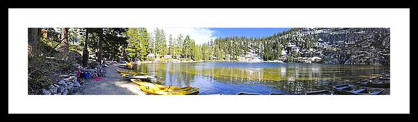 Angora Lake Tahoe California Mountain Scene Landscape Water Green Snow Ice Sand Beach Pine Tree Forest Sunset Kayak Boat Raft Cliff Granite Rock Hiking Backpack Camp Camping Framed Print featuring the photograph Angora Tranquility Base by Geoffrey Hill