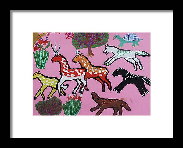 Framed Print featuring the painting Animals by Seisenbai Tamerlan