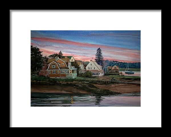 Peter Sit Watercolor Framed Print featuring the painting Annisquam River by Peter Sit