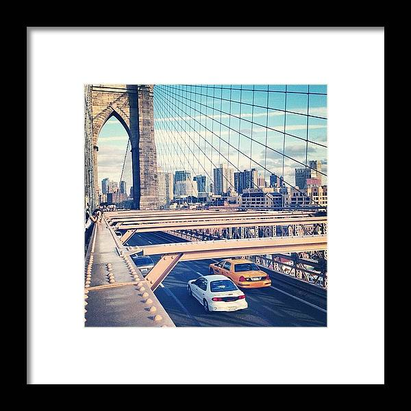 Summer Framed Print featuring the photograph Another Day On Brooklyn Bridge by Randy Lemoine