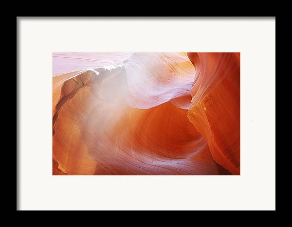 Slot Canyon Framed Print featuring the photograph Antelope Canyon Light Beams - Unearthly Beauty by Christine Till