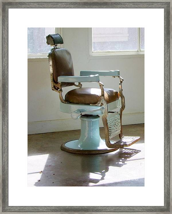Barber Chair Framed Print featuring the photograph Antique Barber Chair by Mary Deal & Antique Barber Chair Framed Print by Mary Deal
