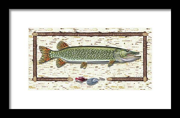 Pike Framed Print featuring the painting Antique Birch Pike And Lure by JQ Licensing