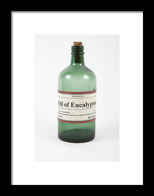 Bottle Framed Print featuring the photograph Antique Eucalyptus Oil Bottle by Gregory Davies, Medinet Photographics