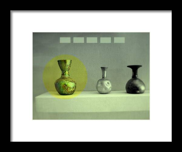 Still Life Framed Print featuring the photograph Antique Vases Still Life Altered II by Grace Art Photography