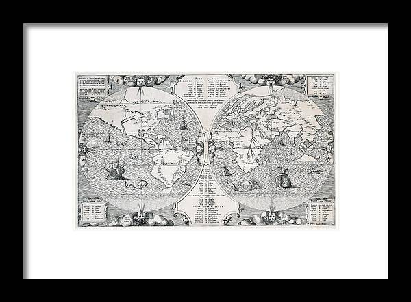 Antique World Map Framed Print By Benito Arias Montano