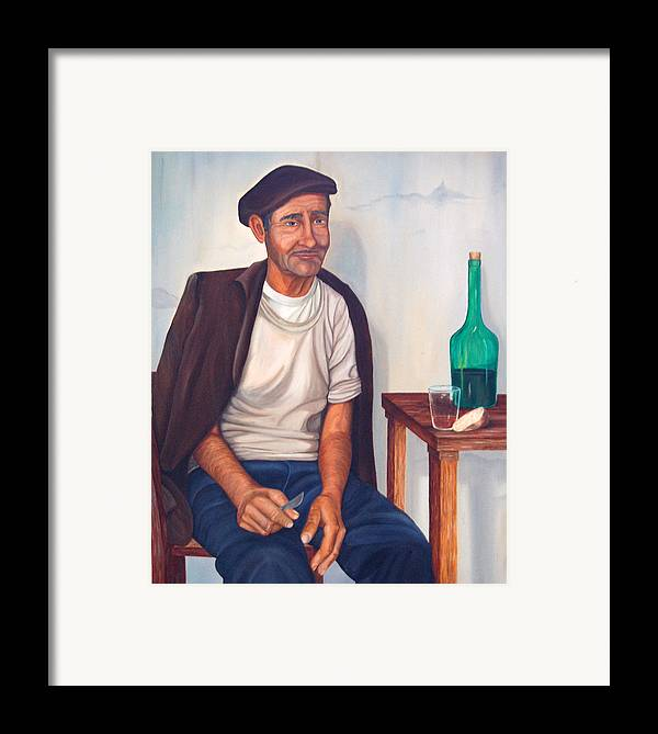 Portrait Framed Print featuring the painting Antonio by AnnaJo Vahle