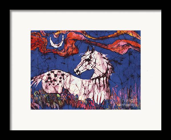 Batik Framed Print featuring the tapestry - textile Appaloosa In Flower Field by Carol Law Conklin