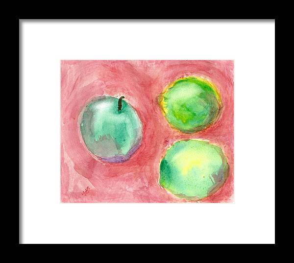 Sviatoslav Framed Print featuring the painting Apple And Two Lemons by Sviatoslav Alexakhin