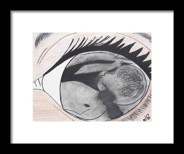 Nina De Mis Ojos Framed Print featuring the drawing Apple of my Eye by Jessica Cruz