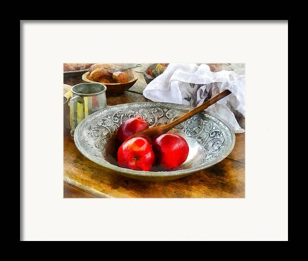 Meal Framed Print featuring the photograph Apples In A Silver Bowl by Susan Savad