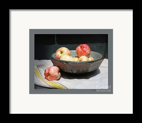 Apples Framed Print featuring the photograph Apples In An Aerni Bowl by Patricia Overmoyer