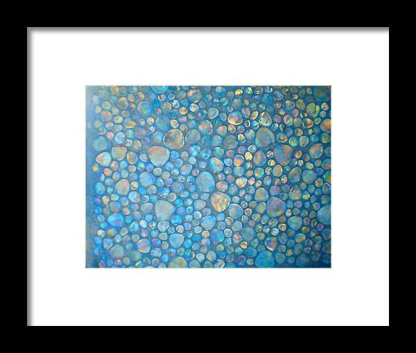 Costa Maya Colorful Stones Abstract Framed Print featuring the digital art Aqua Stones 2 by Geoff Strehlow