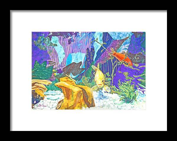 Mixed Media Framed Print featuring the mixed media Aquarium by Drina Fried