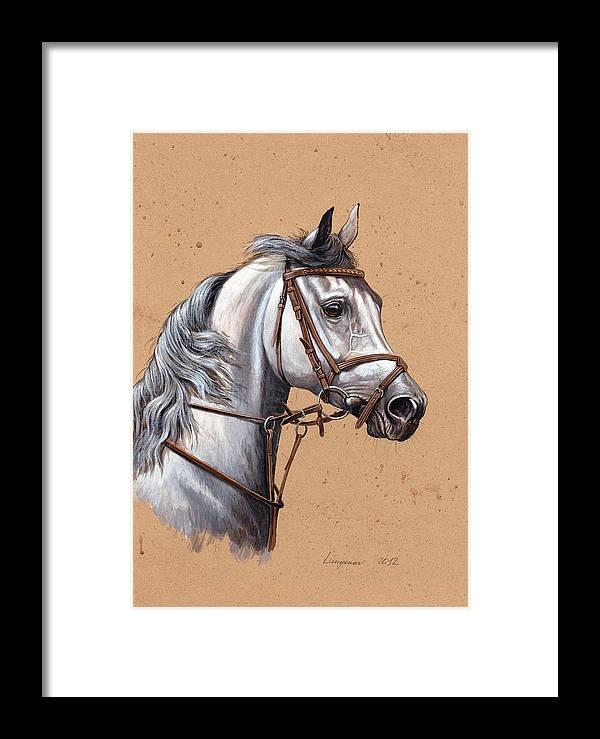 Pferde Framed Print featuring the painting Arabian Horse by Sascha Lunyakov