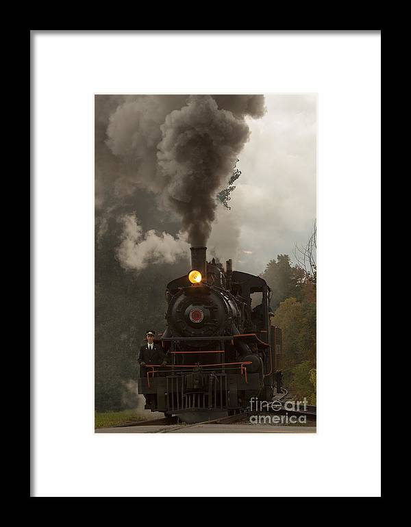 Train Framed Print featuring the photograph Arcade Steam Engine by Darleen Stry