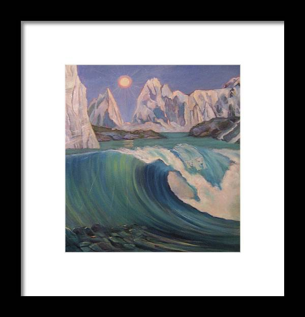 Ocean Wave Framed Print featuring the painting Arctic ocean glaciers by D Marie LaMar